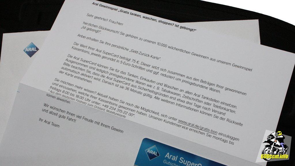 Tanken Mit Karte Gewinner.600ccm Info Meine Geld Zurück Karte Von Aral